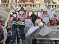 Alyssa Milano speaks after delivering a letter to Georgia Gov. Brian Kemp's office detailing her opposition to HB 481 at the State Capitol, April 2, 2019, in Atlanta. HB 481 would ban almost all abortions after a fetal heartbeat can be detected. (Photo: John Bazemore, AP)