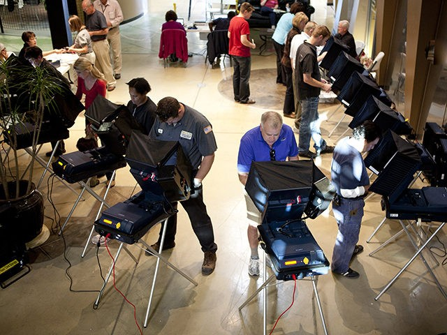 RENO, NV - NOVEMBER 2: Nevadans cast their ballots November 2, 2010 at South Reno Athletic Club November 2, 2010 in Reno, Nevada. GOP Senate candidate Sharron Angle is locked in a tight race to unseat Senate Majority Leader Harry Reid in Nevada. (Photo by Max Whittaker/Getty Images)