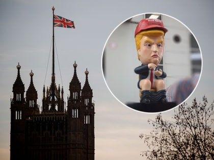 (INSET: A Donald Trump robot on a toilet) A picture shows the Union Flag flying atop Victoria Tower at the Houses of Parliament in central London on December 13, 2018. - Bloodied but not yet beaten, Prime Minister Theresa May holds last-ditch talks with EU leaders on as she battles …