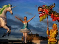 EDINBURGH, SCOTLAND - JANUARY 14: Nina Sun stands beside a unicorn lantern and a Chinese dragon during the launch of the Chinese New Year Edinburgh festival on January 14, 2019 in Edinburgh, Scotland. A full programme to celebrate Chinese New Year will take place in from 2 to 17 February, …
