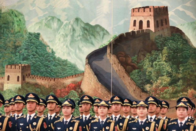 BEIJING, CHINA - APRIL 01: The Guard of Honour of the People's Liberation Army during the welcoming ceremony at the beginning of the meeting between New Zealand Prime Minister Jacinda Ardern and Chinese Premier Li Keqiang at The Great Hall Of The People on April 01, 2019 in Beijing, China. …