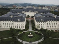 DONGGUAN, CHINA - APRIL 12: A replica of Versailles is seen in the Paris area of Huawei's new sprawling 'Ox Horn' Research and Development campus on April 12, 2019 in Dongguan, near Shenzhen, China.