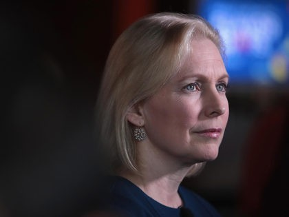 DES MOINES, IOWA - APRIL 17: Democratic presidential candidate Sen. Kirsten Gillibrand (D-NY) speaks to guests during a campaign event with Drake University Democrats at Papa Keno's restaurant on April 17, 2019 in Des Moines, Iowa. Gillibrand has campaign stops scheduled in the state through Friday. (Photo by Scott Olson/Getty …