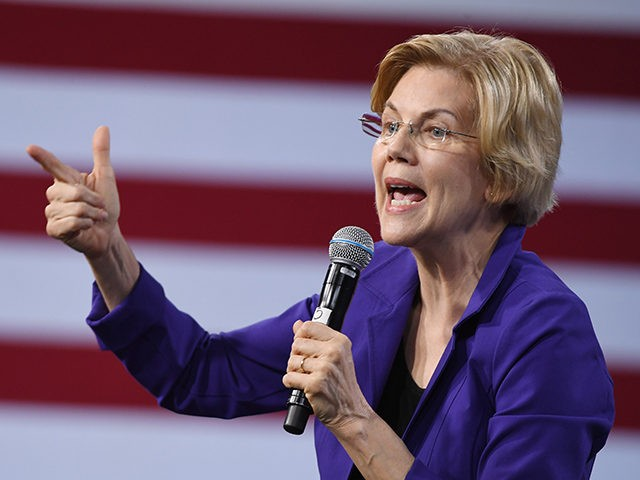 LAS VEGAS, NEVADA - APRIL 27: Democratic presidential candidate U.S. Sen. Elizabeth Warren (D-MA) speaks at the National Forum on Wages and Working People: Creating an Economy That Works for All at Enclave on April 27, 2019 in Las Vegas, Nevada. Six of the 2020 Democratic presidential candidates are attending …