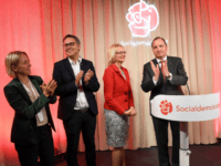 (From L) Social Democrats (Socialdemokraterna) top candidates Jytte Guteland, Johan Danielsson, Helene Fritzon and Swedish Prime Minister Stefan Lofven react following the preliminary results of the European Parliament election during the party's election night watch event in Stockholm on May 26, 2019. (Photo by Jonas EKSTROMER / TT News Agency …