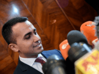 Head of Five Star Movement (M5S) and Italy Vice-Prime Minister Luigi Di Maio answers to journalists questions during a press conference in Rome on May 27, 2019. - The triumph of the anti-migrant League party at the European elections on May 26 raised questions in Italy over the populist government's …