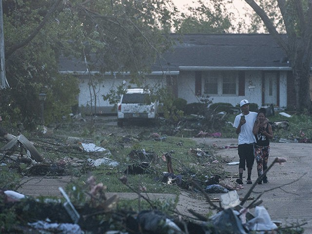 TROTWOOD, OH - MAY 28: Residents of the Trotwood neighborhood West Brook inspect the damage to their homes following powerful tornados on May 28, 2019 in Trotwood, Ohio. (Photo by Matthew Hatcher/Getty Images)
