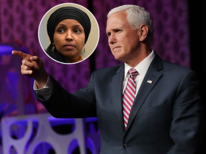 (INSET: Ilhan Omar) WASHINGTON, DC - MAY 06: U.S. Vice President Mike Pence delivers a keynote address during Access Intelligence's Satellite 2019 Conference and Exhibition at the Walter E. Washington Convention Center May 06, 2019 in Washington, DC. A marketing, events and business intelligence company that serves the energy, chemical, …