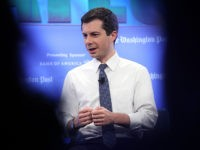 "WASHINGTON, DC - MAY 23: Democratic presidential candidate Mayor Pete Buttigieg answers questions at a Washington Post Live discussion May 23, 2019 in Washington, DC. Buttigieg's appearance was the first of the Washington Post's ""2020 Candidates"" series of discussions.(Photo by Win McNamee/Getty Images)"