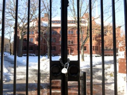 CAMBRIDGE, MA - DECEMBER 16: A gate sits locked on Quincy Street at Harvard University during a bomb scare December 16, 2013 in Cambridge, Massachusetts. Police were alerted at roughly nine thirty this morning of possible bombs at four different buildings on the Harvard campus. (Photo by Darren McCollester/Getty Images)