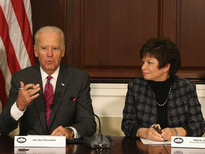 WASHINGTON, DC - NOVEMBER 13: U.S. Vice President Joseph Biden (C), joined by Ebola Response Coordinator Ron Klain (L), and Senior Advisor Valerie Jarrett (R), speaks during a meeting regarding Ebola at the Eisenhower Executive office building November 13, 2014 in Washington, D.C. Vice President Biden met with leaders of …