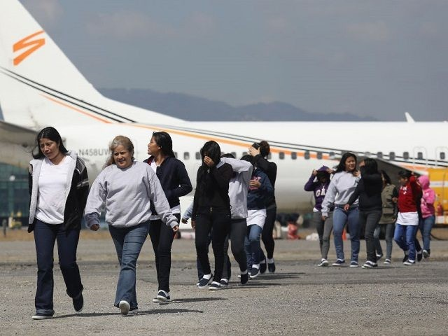 GUATEMALA CITY, GUATEMALA - FEBRUARY 09: Guatemalan immigrants deported from the United States arrive on a ICE deportation flight on February 9, 2017 in Guatemala City, Guatemala. The charter jet, carrying 135 deportees, arrived from Texas, where U.S. border agents catch the largest number illigal immigrants crossing into the United …
