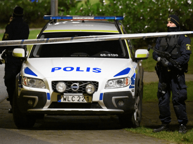 Police have cordoned off an area after an object exploded next to a police station in Rosengard in Malmo, Sweden on January 17, 2018. / AFP PHOTO / TT News Agency / Johan NILSSON / Sweden OUT (Photo credit should read JOHAN NILSSON/AFP/Getty Images)