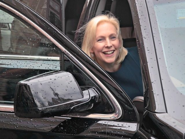 DES MOINES, IOWA - APRIL 17: Democratic presidential candidate Sen. Kirsten Gillibrand (D-NY) leaves Papa Keno's restaurant following a campaign event with Drake University Democrats on April 17, 2019 in Des Moines, Iowa. Gillibrand has campaign stops scheduled in the state through Friday. (Photo by Scott Olson/Getty Images)