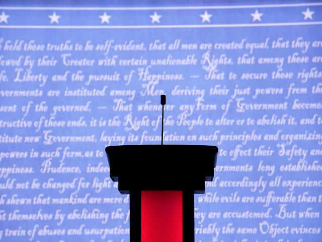 The stage is set for Monday night's presidential debate between Democratic presidential nominee Hillary Clinton and Republican presidential nominee Donald Trump at Hofstra University on September 26, 2016 in Hempstead, New York. Clinton and Trump are scheduled to square off this evening in the first 2016 presidential debate. (Photo by …