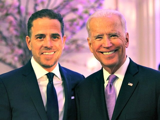 WASHINGTON, DC - APRIL 12: World Food Program USA Board Chairman Hunter Biden (L) and U.S. Vice President Joe Biden attend the World Food Program USA's Annual McGovern-Dole Leadership Award Ceremony at Organization of American States on April 12, 2016 in Washington, DC. (Photo by Teresa Kroeger/Getty Images for World …