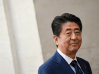Japan's Prime Minister Shinzo Abe arrives at the Palazzo Chigi to attend a meeting with Italy's Prime Minister, on April 24, 2019 in Rome, during a visiti in Italy. (Photo by Tiziana FABI / AFP) (Photo credit should read TIZIANA FABI/AFP/Getty Images)