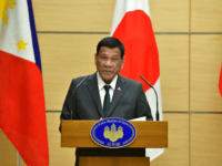 Philippines' President Rodrigo Duterte delivers a speech during a joint press statement with Japan's Prime Minister Shinzo Abe (not pictured) at Abe's office in Tokyo on May 31, 2019. (Photo by Kazuhiro NOGI / POOL / AFP) (Photo credit should read KAZUHIRO NOGI/AFP/Getty Images)