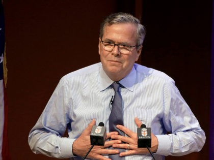 Former Florida Gov. Jeb Bush addresses an audience Wednesday, April 25, 2018, on the campus of Brown University, in Providence, R.I. Bush, a former presidential candidate, opened with remarks about his mother, former first lady Barbara Bush, who died Tuesday, April 17, 2018 at age 92 at her home, in …