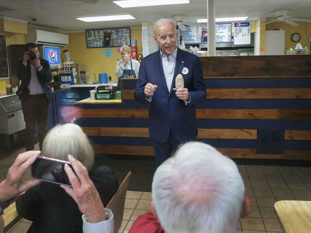 Democratic presidential candidate and former vice president Joe Biden makes a stop at the The Cone Shoppe while on the campaign trail on April 30, 2019 in Monticello, Iowa. Biden is on his first visit to the state since announcing that he was officially seeking the Democratic nomination for president. …