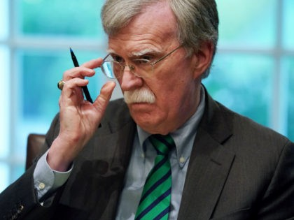 U.S. National Security Advisor John Bolton joins President Donald Trump and NATO Secretary General Jens Stoltenberg during a bilateral meeting in the Cabinet Room at the White House April 02, 2019 in Washington, DC. On the 70th anniversary of NATO, Trump and Stoltenberg discussed the trans-Atlantic alliance's successes and its …
