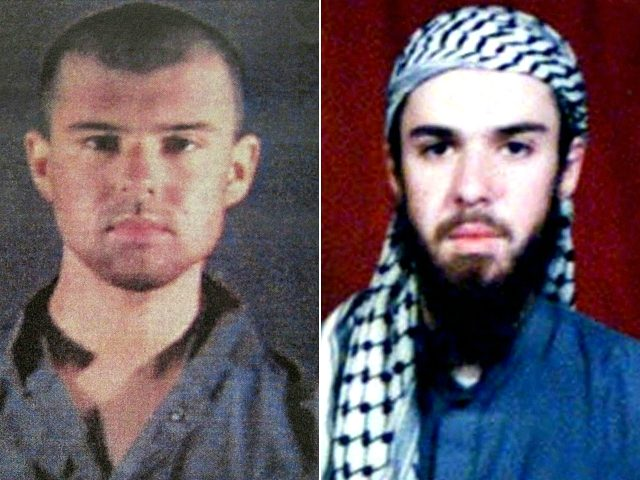 "(COMBO) This combination of pictures created on April 17, 2019 shows at left a police file photo made available February 6, 2002 of the ""American Taliban"" John Walker Lindh and at right a February 11, 2002 photograph of him as seen from the records of the Arabia Hassani Kalan Surani …"