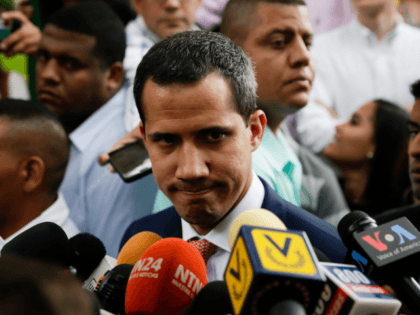 Venezuelan opposition leader Juan Guaido, recognized by many members of the international community as the country's rightful interim ruler, talks to the media during the Plan Pais International Congress to debate government proposals at Universidad Católica Andrés Bello on May 24, 2019 in Caracas, Venezuela. (Photo by Eva Marie Uzcategui/Getty …