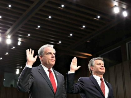 Justice Department Inspector General Michael Horowitz (L) and Federal Bureau of Investigation Director Christopher Wray. Photo-