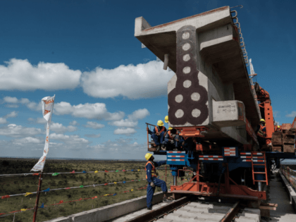 A picture taken on June 23, 2018 shows a railway track at the construction site of Standard Gauge Railway (SGR) during the Presidential Inspection of the SGR Nairobi-Naivasha Phase 2A project in Nairobi, Kenya. - The SGR phase 2A project is an 120km extensiton of the Monbasa-Nairobi SGR project (Phase …