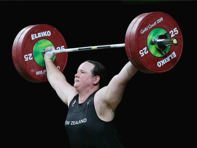 Laurel Hubbard of New Zealand competes in the Women's 90kg Final during Weightlifting on day five of the Gold Coast 2018 Commonwealth Games at Carrara Sports and Leisure Centre on April 9, 2018 on the Gold Coast, Australia. (Photo by Alex Pantling/Getty Images