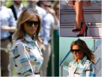 Fashion Notes: Melania Trump Jet-Sets to Japan in Calvin Klein Dress