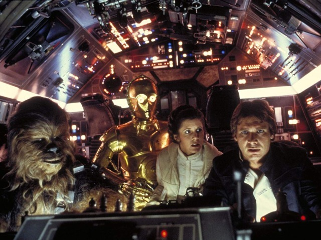 Harrison Ford, Anthony Daniels, Carrie Fisher, and Peter Mayhew in Star Wars: Episode V - The Empire Strikes Back (Lucasfilm Ltd., 1980)