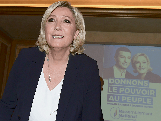 France's far-right party Rassemblement National (RN) president Marine Le Pen arrives for a press conference in Milan on May 18, 2019, ahead of attending a rally gathering leaders of 12 far-right parties marching seeking to forge a united front ahead of European elections. (Photo by Miguel MEDINA / AFP) (Photo …