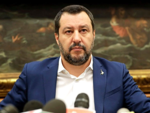 Italian deputy Premier and Interior Minister Matteo Salvini meets the journalists during a press conference on the Government's pensions reform, in Rome, Tuesday, Jan. 29, 2019. (AP Photo/Andrew Medichini)