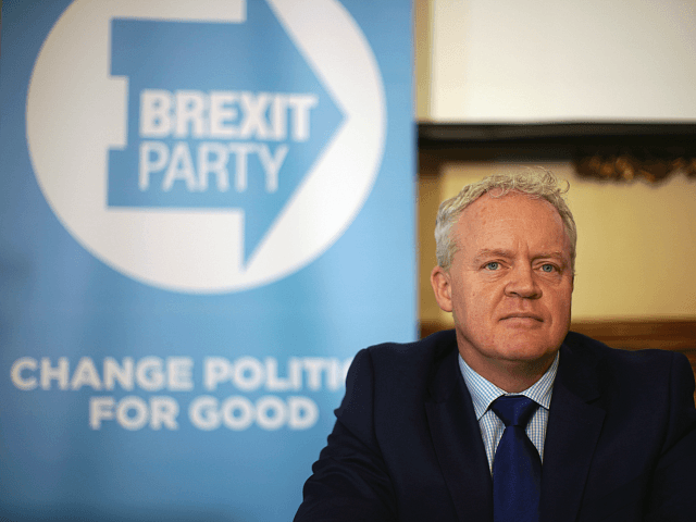 PETERBOROUGH, ENGLAND - MAY 09: Brexit Party's Mike Greene takes part in a press conference after he is announced as the party's Peterborough constituency by-election candidate on May 09, 2019 in Peterborough, England. Mike Greene is the first Brexit Party member to take part in a UK parliamentary by-election. The …