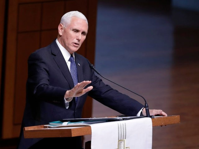 "Vice President Mike Pence speaks during a funeral service for Sen. Richard Lugar, Wednesday, May 15, 2019, in Indianapolis. Lugar was a longtime Republican senator and former Indianapolis mayor who's been hailed as an ""American statesman"" since he died April 28 at age 87. (AP Photo/Darron Cummings)"