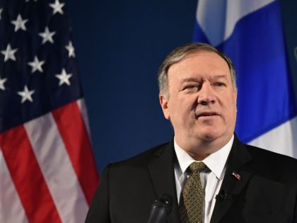 US Secretary of State Mike Pompeo speaks on Arctic policy at the Lappi Areena in Rovaniemi, Finland on May 6, 2019. - Pompeo is in Rovaniemi to attend the Arctic Council Ministerial Meeting. (Photo by MANDEL NGAN / POOL / AFP) (Photo credit should read MANDEL NGAN/AFP/Getty Images)