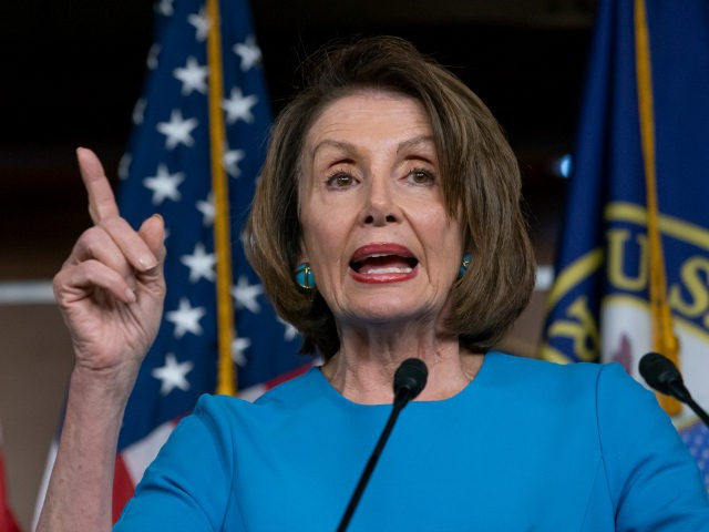 "Speaker of the House Nancy Pelosi, D-Calif., meets with reporters at her weekly news conference at the Capitol in Washington, Thursday, May 16, 2019. Pelosi says the U.S. must avoid war with Iran, and she says the White House has ""no business"" moving toward a Middle East confrontation without approval …"