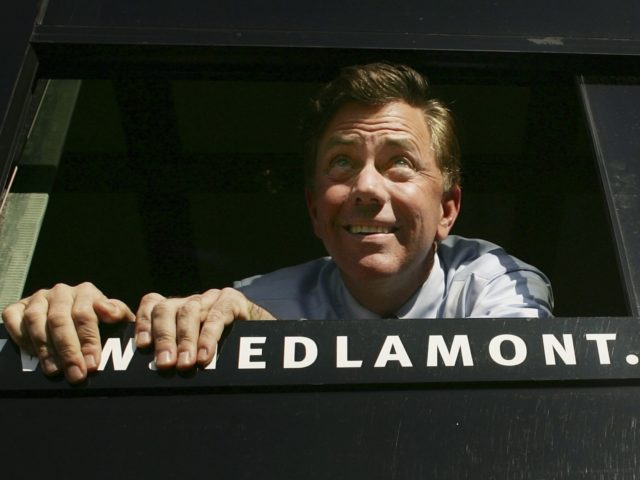 HARTFORD, CT - NOVEMBER 06: Democratic U.S. Senate candidate Ned Lamont looks out from his campaign bus November 6, 2006 at a stop in Hartford, Connecticut. Lamont is running against U.S. Sen. Joe Lieberman (D-CT) a three-term Democratic incumbent who lost the August party primary, forcing him to run as …