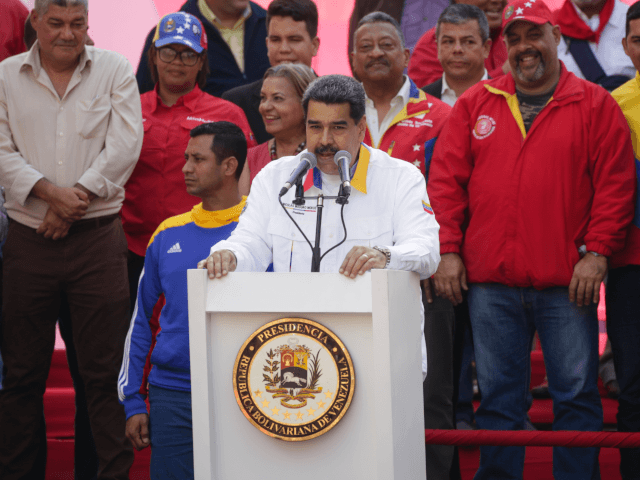 President of Venezuela Nicolas Maduro speaks during a demonstration summoned by Partido Socialista Unido de Venezuela (PSUV) at Palacio de Miraflores on May 20, 2019 in Caracas, Venezuela. PSUV and Maduro supporters gathered to celebrate the anniversary of Maduro's election. (Photo by Eva Marie Uzcategui/Getty Images)