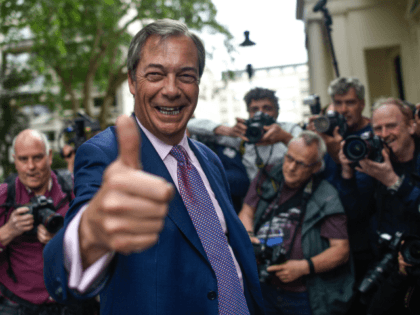 LONDON, ENGLAND - MAY 27: Brexit Party leader Nigel Farage arrives at a Brexit Party event on May 27, 2019 in London, England. The Brexit party won 10 of the UK's 11 regions, gaining 28 seats and more than 30% of the vote. (Photo by Peter Summers/Getty Images)