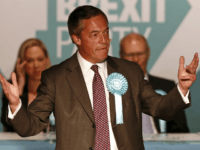 Brexit Party leader Nigel Farage speaks at a European Parliament election campaign rally at Frimley Green, south west of London on May 19, 2019. (Photo by Adrian DENNIS / AFP) (Photo credit should read ADRIAN DENNIS/AFP/Getty Images)