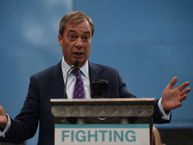 British politician and The Brexit Party leader, Nigel Farage addresses the launch of The Brexit Party's European Parliament election campaign in Coventry, central England on April 12, 2019. - UK nationalist Nigel Farage launched his Brexit Party's campaign for the European Parliament elections -- a vote Britain was never meant …