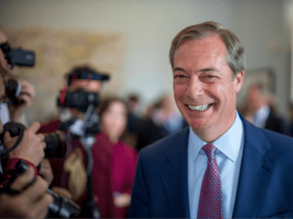Brexit Party leader Nigel Farage, Member of the European Parliament, attends a press conference regarding the party's European Parliament election campaign in London on May 7, 2019. (Photo by Tolga Akmen / various sources / AFP) (Photo credit should read TOLGA AKMEN/AFP/Getty Images)