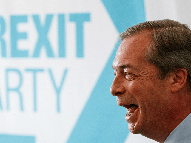 Brexit Party leader Nigel Farage, Member of the European Parliament, speaks at a press conference regarding the party's European Parliament election campaign in London on May 7, 2019. (Photo by Tolga Akmen / various sources / AFP) (Photo credit should read TOLGA AKMEN/AFP/Getty Images)