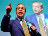 EDINBURGH, SCOTLAND - MAY 17: Nigel Farage attends a rally with the Brexit Party's European election candidates at the Corn Exchange in Edinburgh on May 17, 2019 in Edinburgh, Scotland. The Brexit Party leader was speaking at his first Scottish rally of the European election campaign. (Photo by Jeff J …