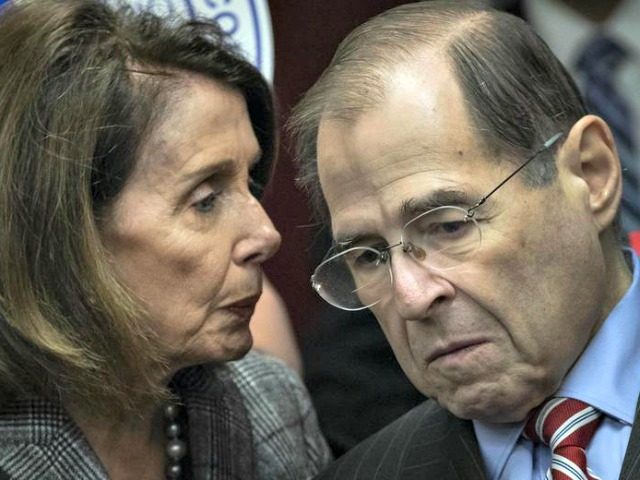 Speaker of the House Nancy Pelosi speaks with House Judiciary Committee Chairman Rep. Jerrold Nadler. Drew Angerer/Getty Images