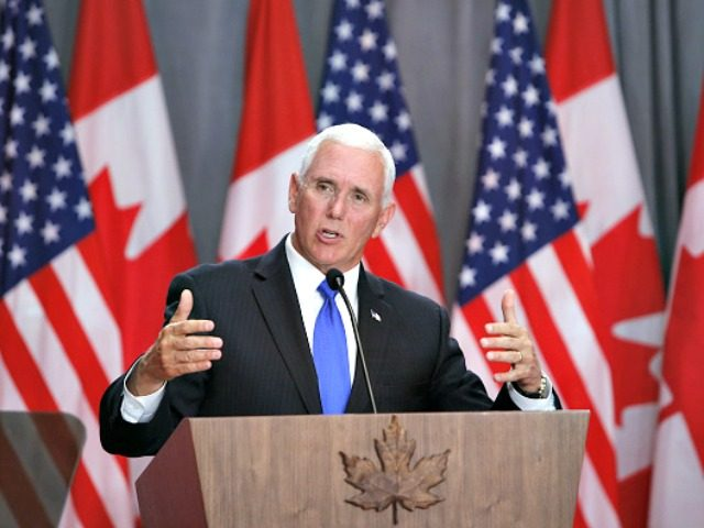 U.S. Vice President Mike Pence speaks during a news conference with Justin Trudeau, Canada's prime minister, not pictured, in Ottawa, Ontario, Canada on Thursday, May 30, 2019.  Pence promised the new trade pact between the U.S., Canada and Mexico will pass this year, shrugging off questions about whether the deal can …