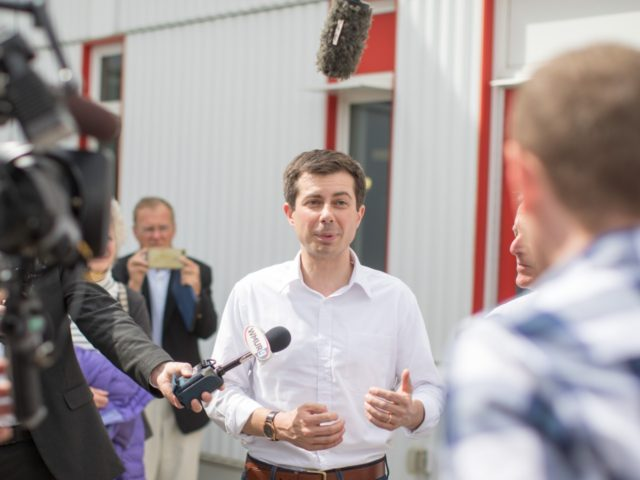 LONDONDERRY, NH - APRIL 19: Democratic Presidential candidate, South Bend Mayor Pete Buttigieg gives an interview during a campaign stop at Stonyfield Farms on April 19, 2019 in Londonderry, New Hampshire. Recent polls are showing Buttigieg is gaining ground with Democrats in the presidential nominating states of Iowa and New …