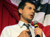In this file photo taken on September 26, 2016 Sound Bend Indiana Mayor Peter Buttigieg talks about Republican Vice-presidential candidate Mike Pence in front of potential voters at a Hillary Clinton debate watching party for the LGBT community in Chicago, Illinois. - He is a longshot candidate, but South Bend …
